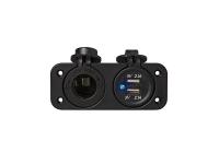 USB + DIN Doppel Einbau Steckdosse 12/24V 2 x 2100mA Ladegerät für Wohnmobil