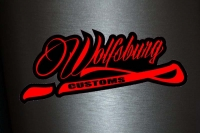 1 x Aufkleber Wolfsburg Customs Sticker Tuning Shocker Autoaufkleber Fun Gag Dub